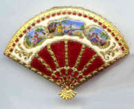 Fan Shaped Enameled Novelty Compact