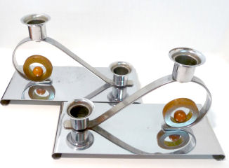 Deco Candle Holders with Catalin Accents