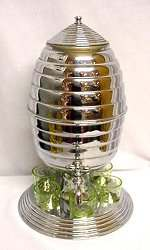 Beehive Chrome and Glass Cordial Set