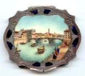 RARE Italian Sterling Vermeil Scenic Compact Featuring Famous Rialto Bridge Canal Scene