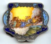 Italian Sterling Silver Chariot of the Gods Compact with Two-Tone Blue Frame