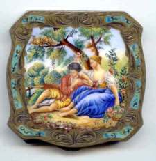 Italian Sterling Vermeil Fantastic Jeweled Compact with Hand-Painted Scene on Ivory Beneath Beveled Glass ~ Scalloped Shape ~