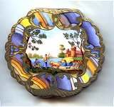 RARE Italian Sterling Vermeil Figural Compact Feauring People, Castle, and Animals with Rainbow Enameled Border