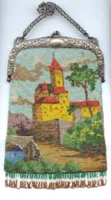 Scenic Castle Beaded Purse with 800 Silver Embossed Frame