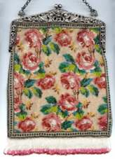 "Floral Beaded ""Carpet"" Design Purse w/ Filigreed Alpacca Silver Frame w/ Figural Children"