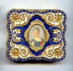 RARE  Italian Sterling Vermeil Cobalt & Ivory Compact with Hand-Painted Portrait on Ivory Under Glass