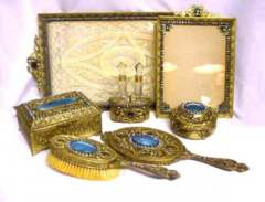French Bronze Blue Enamel Guilloche Vanity Set - Click for Larger Image