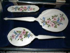 Floral Hand-Painted Dogwoods Enamel Guilloche Dresser Set in Original Box by HCD