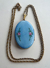 Evans Enamel Guilloche Locket