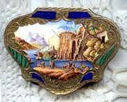Italian Sterling Vermeil Harbor Fishing Village Scene