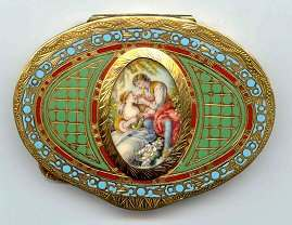 Fantastic and Rare Italian Sterling Vermeil Compact with  Hand-Painted Scene on Ivory - WOW!
