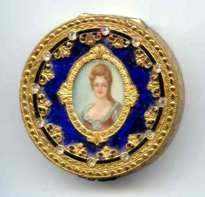 Italian Sterling Vermeil Jeweled Portrait on Ivory with Rich Cobalt Background