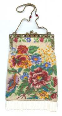 Gorgeous Micro-Beaded Floral Purse with Jeweled and Enameled Frame PLUS Jeweled Handle