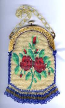 Floral Beaded Purse with Carved Celluloid Frame