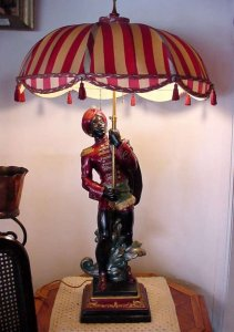 Blackamoor Lamp with Original Shade - Click for Enlarged Image