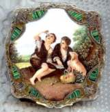 RARE Italian Sterling Vermeil Figural Compact Melon Eaters Featuring Two Boys Eating Melon w/ Sheep