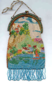 Scenic Beaded Purse with Jeweled Frame