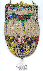 Floral Beaded Purse with Enameled and Jeweled Frame