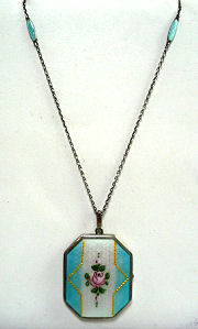 D.F.Briggs Enamel Guilloche Locket