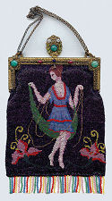 Flapper Figural Beaded Purse with Jeweled Frame