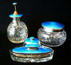 Blue Enamel Guilloche Birmingham Sterling Silver & Crystal Vanity Set from 1928