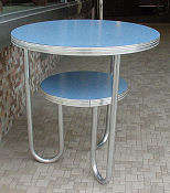 Tubular Chrome Blue Table