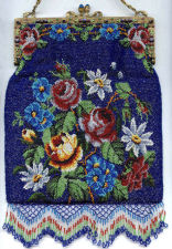 Floral Beaded Purse with Jeweled Frame