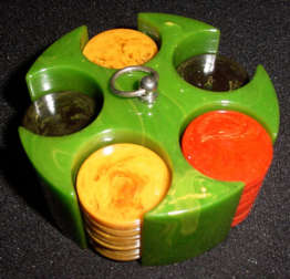 Catalin Poker Chips and Holder