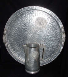 Hammered Aluminum Pitcher and Tray