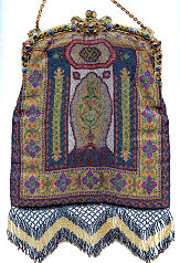 Carpet Design Beaded Purse with Jeweled Frame