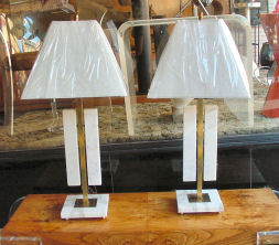 Pair of Marble Decorator Lamps