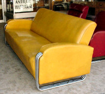 Triple Tubular Chrome Deco Sofa and Club Chairs