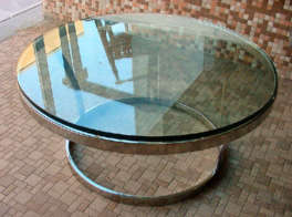 Round Chrome Table with Glass Top