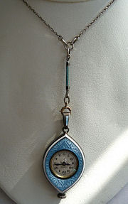 Enamel Guilloche Pendant Watch