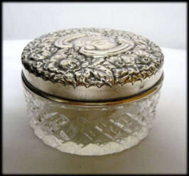 Cut Glass Powder with Sterling Lid