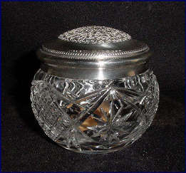 Cut Glass Powder Jar with Silverplate Lid