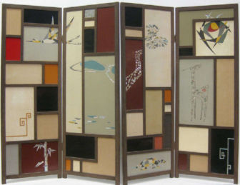 1950's Mondrian Style Japanese Screen with Mother of Pearl Inlaid Panels