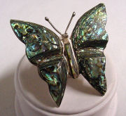 Sterling Silver Abalone Butterfly Pin
