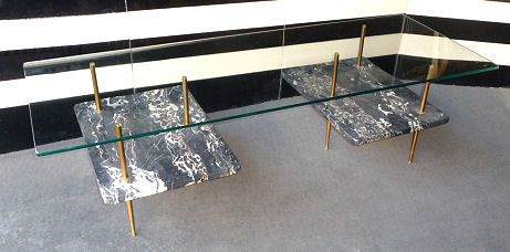 Italian Marble and Glass Table