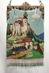 Scenic Castle Beaded Purse with Double Jeweled Frame