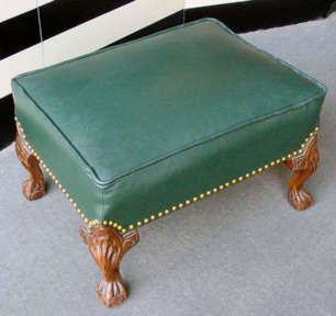 LEATHER CHIPPENDALE CARVED CLAWFOOT OTTOMAN WITH HUNTER GREEN LEATHER