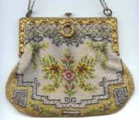 Tiny-Beaded Floral Purse with Silver Metal Beaded Accents