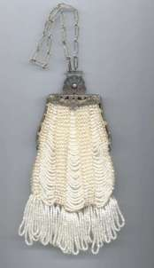 Victorian White Beaded Swag Purse
