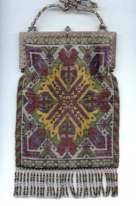 French Steel-Beaded Carpet Design Purse