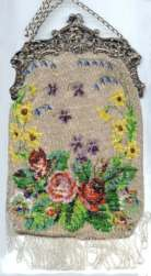 Floral Beaded Purse with Figural Silver Frame