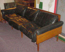 Rosewood and Leather Danish Sofa Designed by Kukkapuro