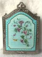 Tiny Golden Bird and Purple Flowers on Aqua Enamel Guilloche