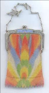 Whiting and Davis Rainbow Dresden Mesh Purse w/Enameled Frame