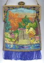 Scenic Gazebo Beaded purse with Jeweled Frame