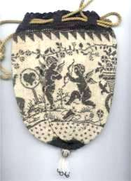 Cherub Reticule with Hearts and Flowers